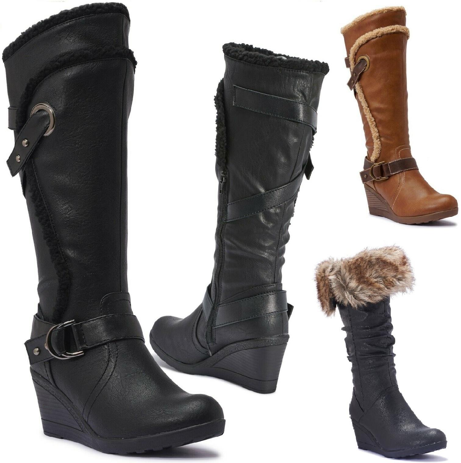 WOMEN FUR LINED WINTER WARM SHOES LADIES BUCKLE LOW HEEL MID CALF BOOTS SIZE 3-9