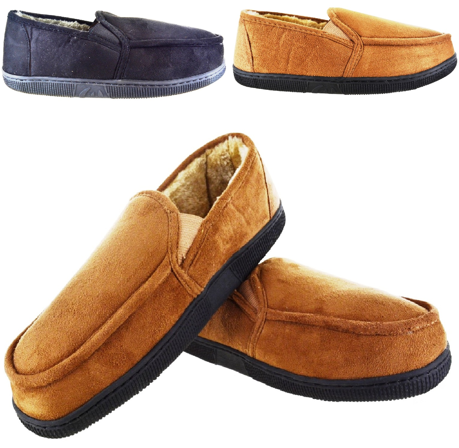 4fd62d3c6 Sentinel MENS GENT WARM FLEECE LINED MOCCASIN WINTER FLAT SLIPPERS SHOES UK  SIZE 7-11 NEW