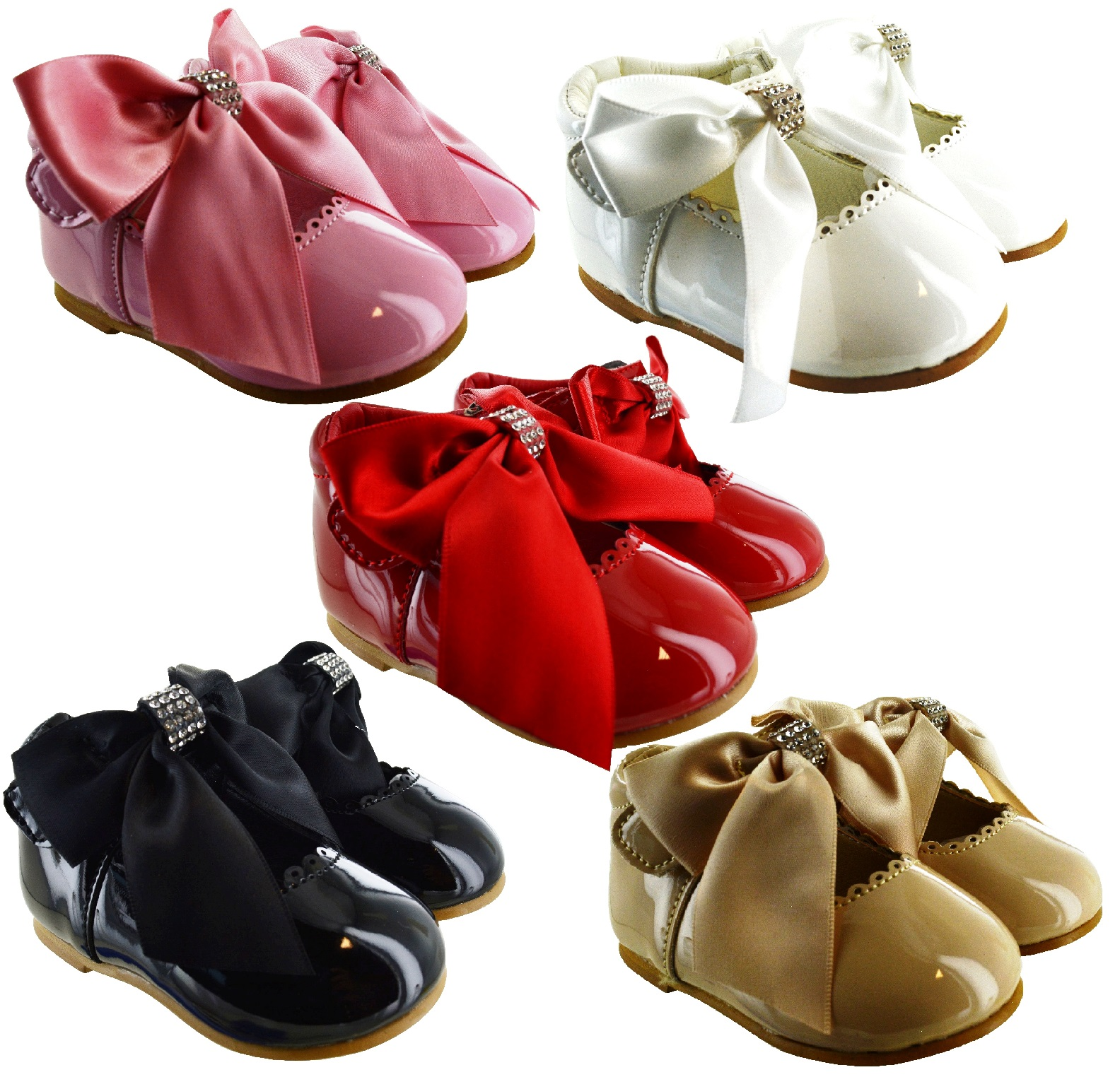 New Kids Infants Girls Bow Diamante Spanish Wedding Party Patent Toddler Shoes