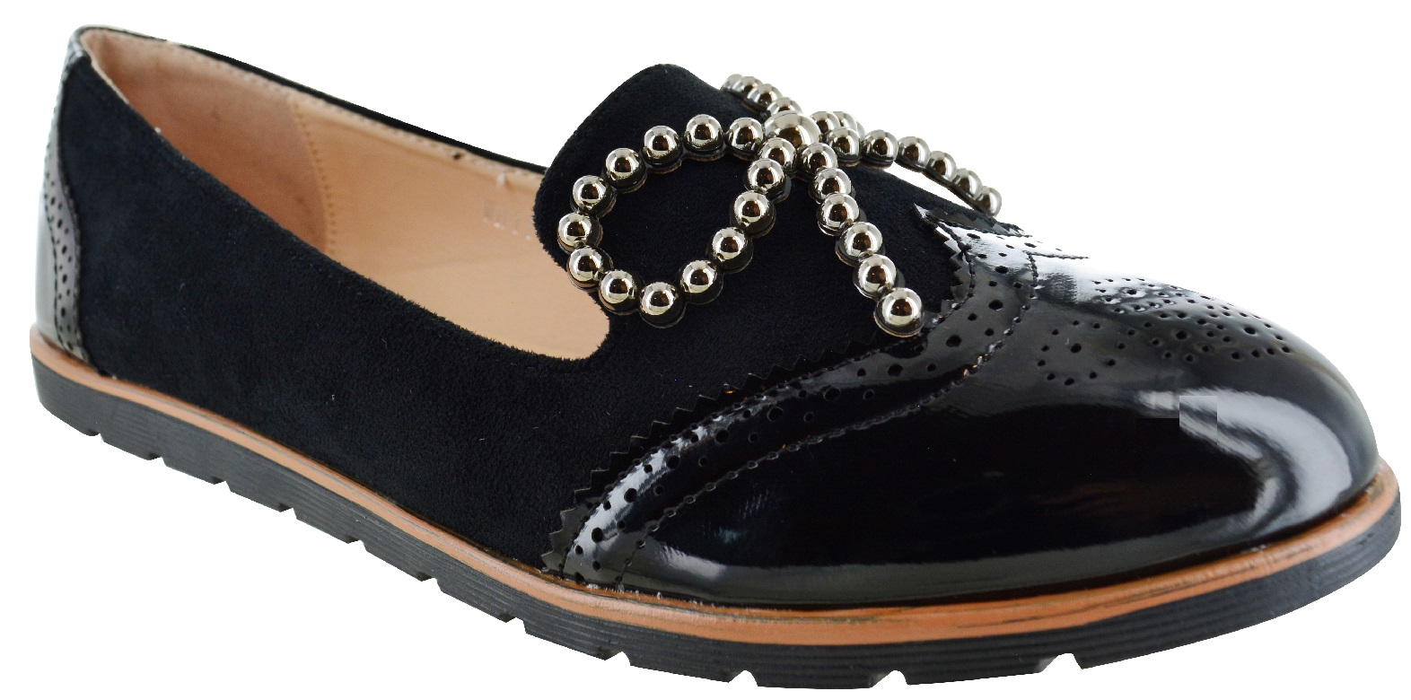 LADIES-WOMENS-FLAT-BOW-SLIP-ON-OFFICE-WORK-BROGUE-LOAFERS-VINTAGE-SHOES-SIZE-3-8 thumbnail 2