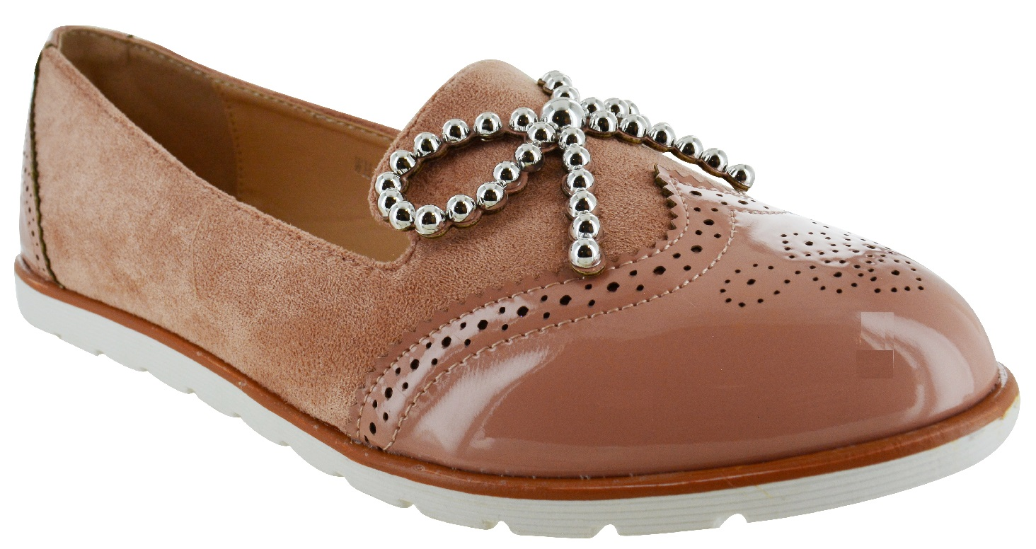 LADIES-WOMENS-FLAT-BOW-SLIP-ON-OFFICE-WORK-BROGUE-LOAFERS-VINTAGE-SHOES-SIZE-3-8 thumbnail 3