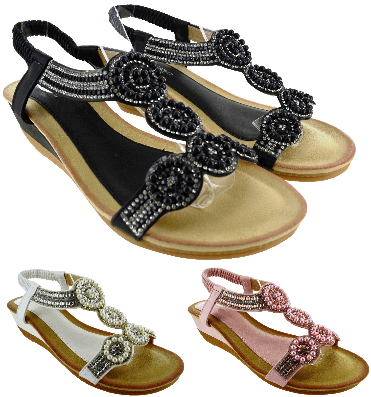 c43153aa5dba LADIES SUMMER PARTY FLAT WEDGE HEEL FLAT SANDALS WOMENS BEACH HOLIDAY SHOES  SIZE