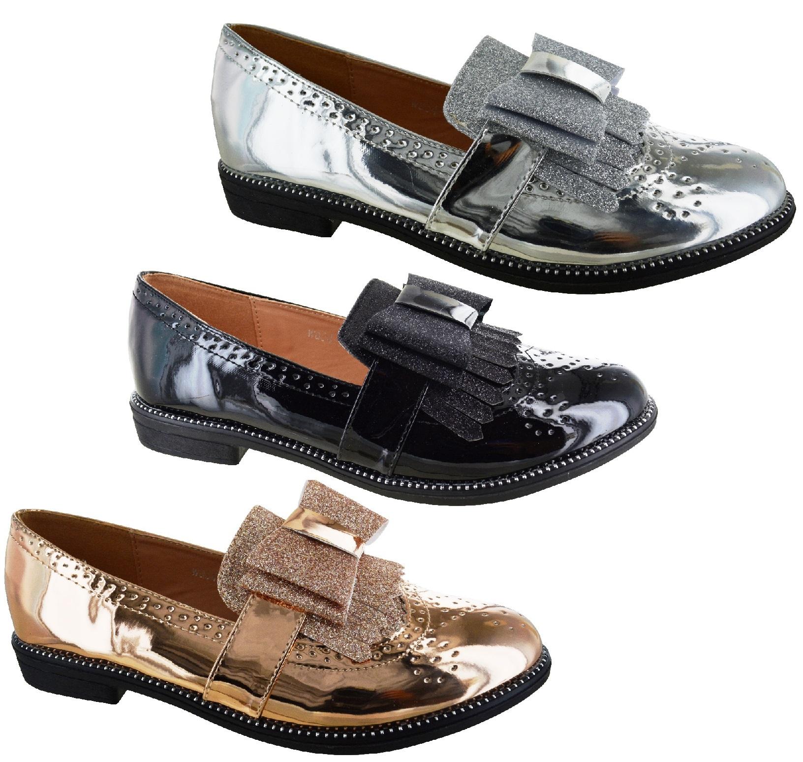 Detalles de Mujer Charol Brillante Lazo Elegante Casual Oficina Plano Zapatos Oxford Talla