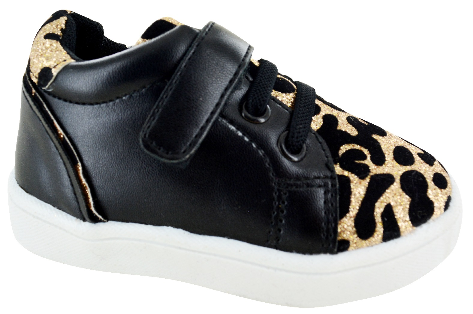 KIDS GIRLS INFANTS CHILDRENS GLITTER  LEOPARD PRINT SNEAKERS TRAINERS SHOES SIZE