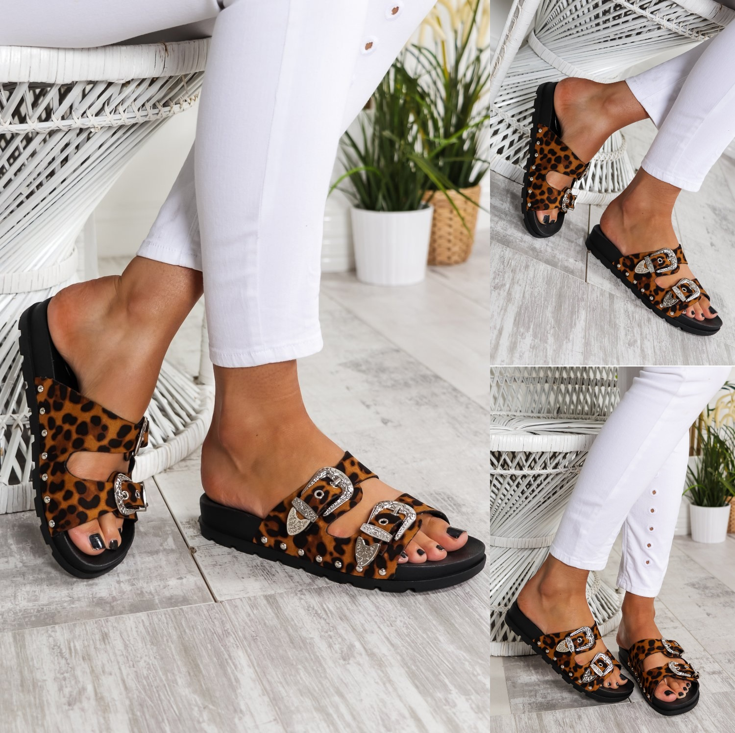 Ladies Womens Studded Buckle Slip On Summer Sliders Mules Sandals Shoes Size