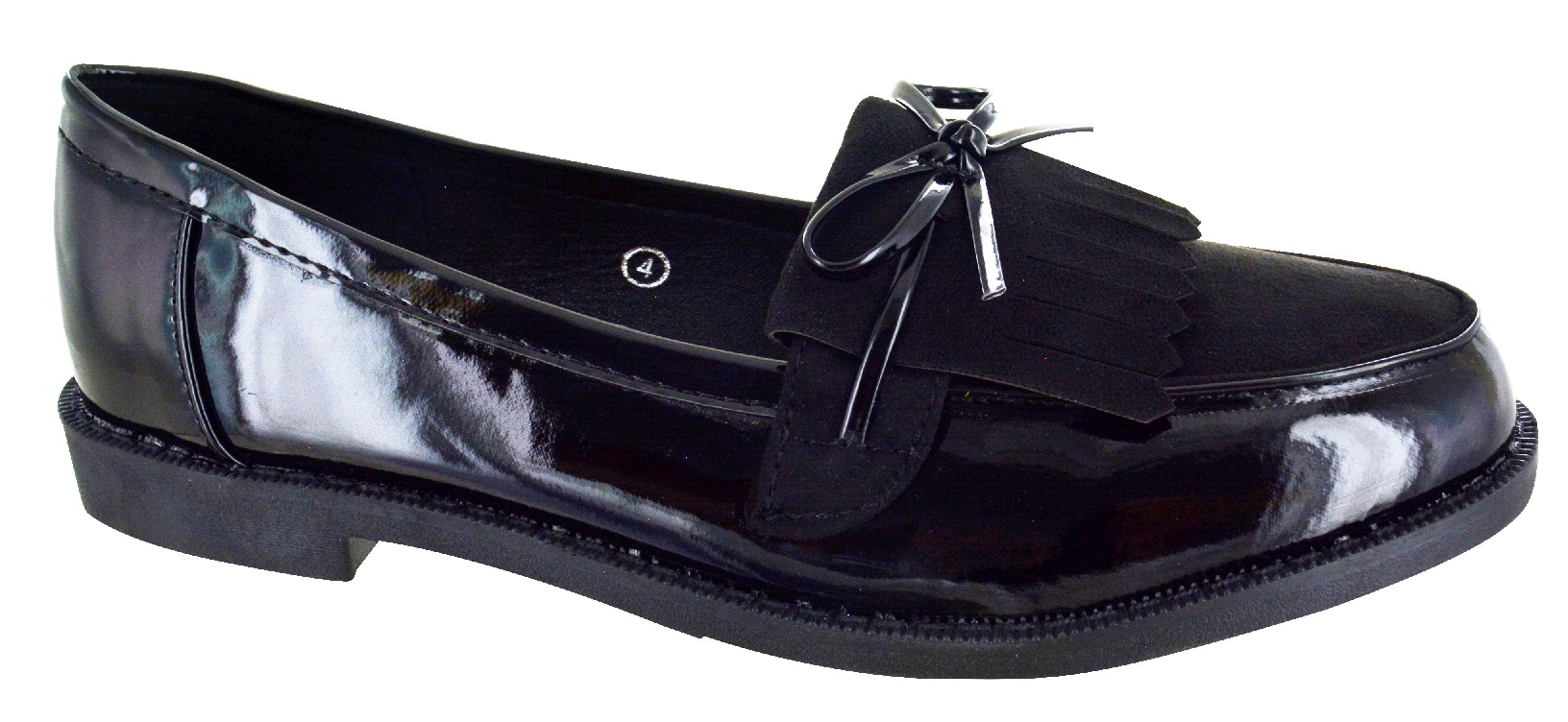 WOMENS-LADIES-FLAT-CREEPER-CHUNKY-SOLE-SCHOOL-WORK-DOLLY-LOAFERS-BOW-SHOES-SIZE thumbnail 12