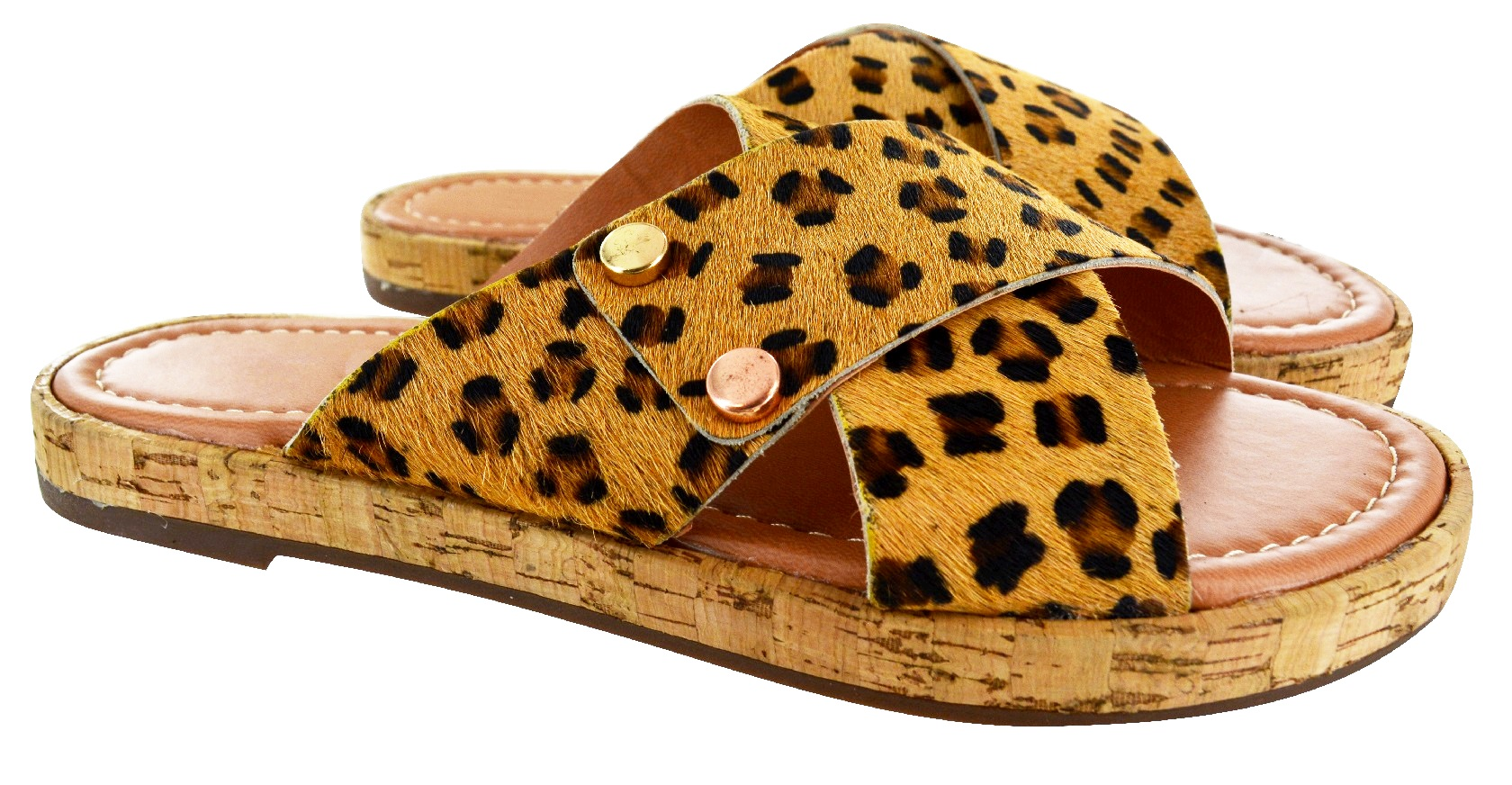 Womens Leopard Print Sliders Flat Summer Sandals Flip Flops Slides Ladies Size