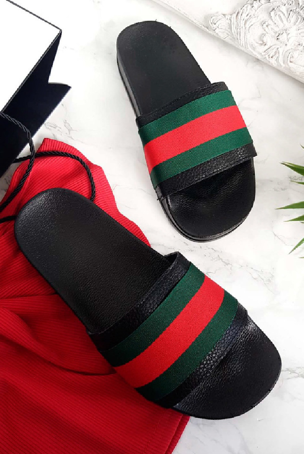 LADIES-WOMENS-FLAT-STRIPED-SLIDES-SLIDERS-SANDALS-SUMMER-MULES-SLIPPERS-SHOES-SZ thumbnail 2