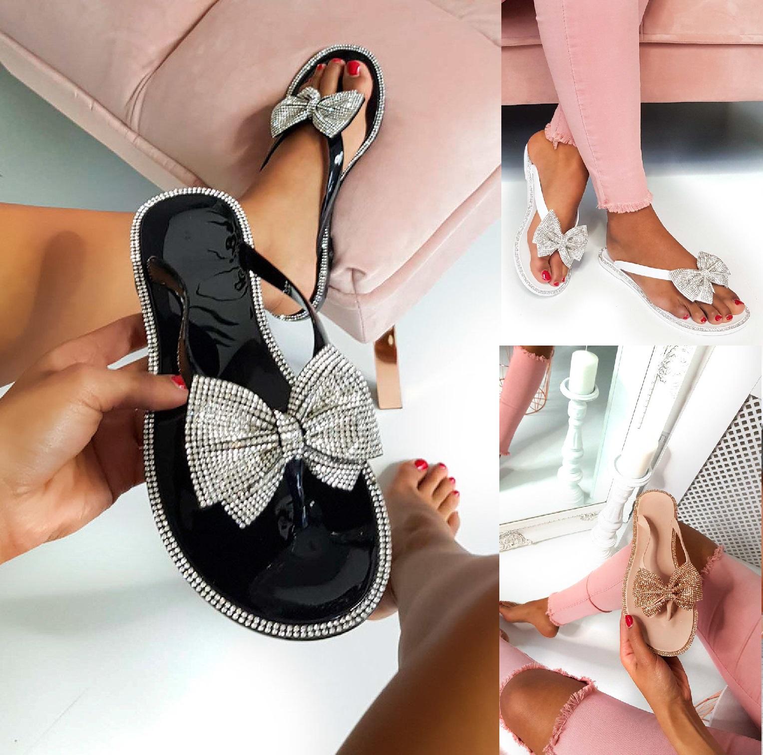 Damen Flach Gummi Strass Schleife Sommer Strand Holiday Sandalen Schuhe Sz 3-8