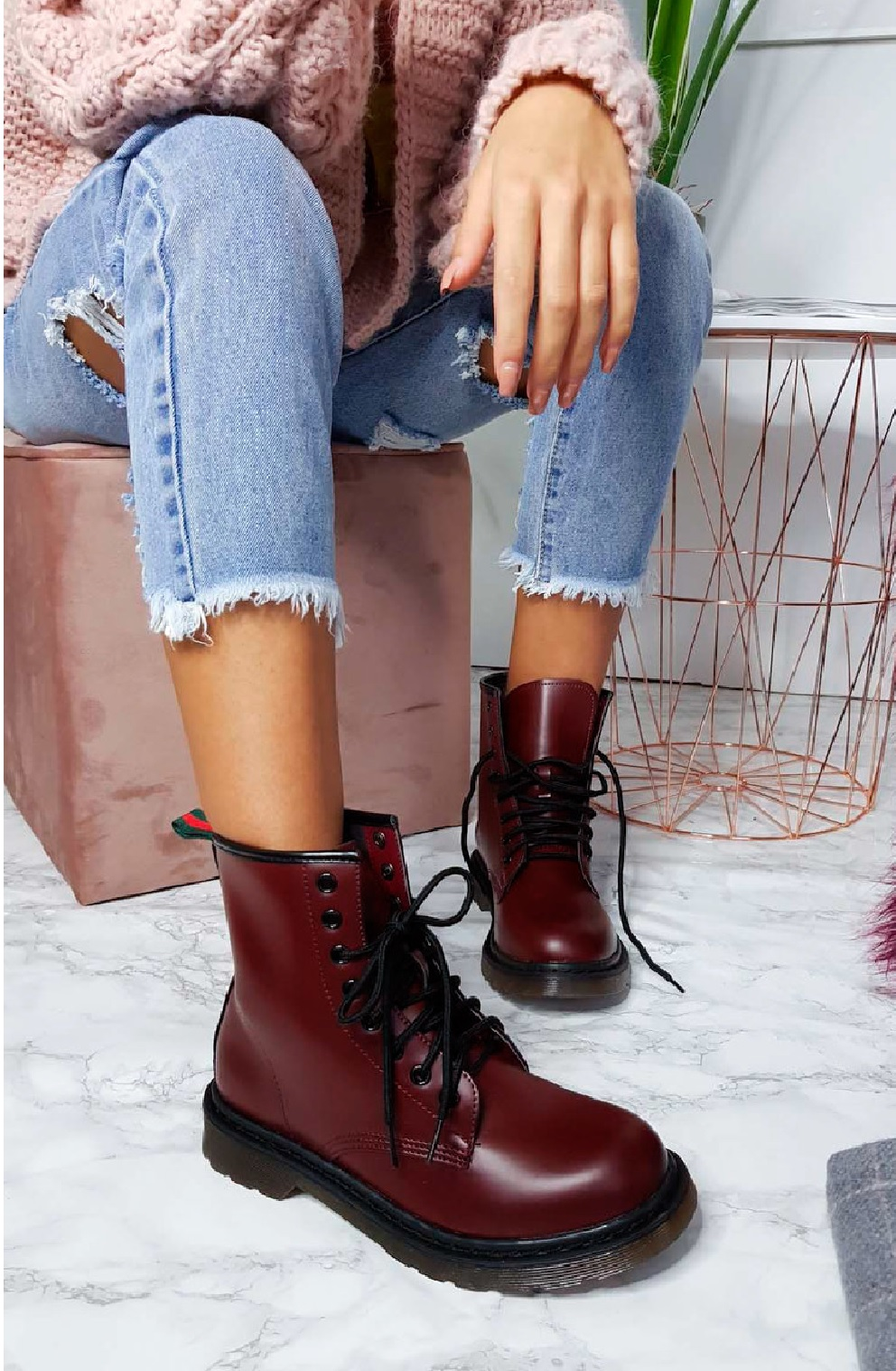 LADIES-WOMENS-LOW-BLOCK-HEEL-ANKLE-COMBAT-DOC-CHUNKY-LACE-UP-DM-BOOTS-SIZE-3-8 thumbnail 6