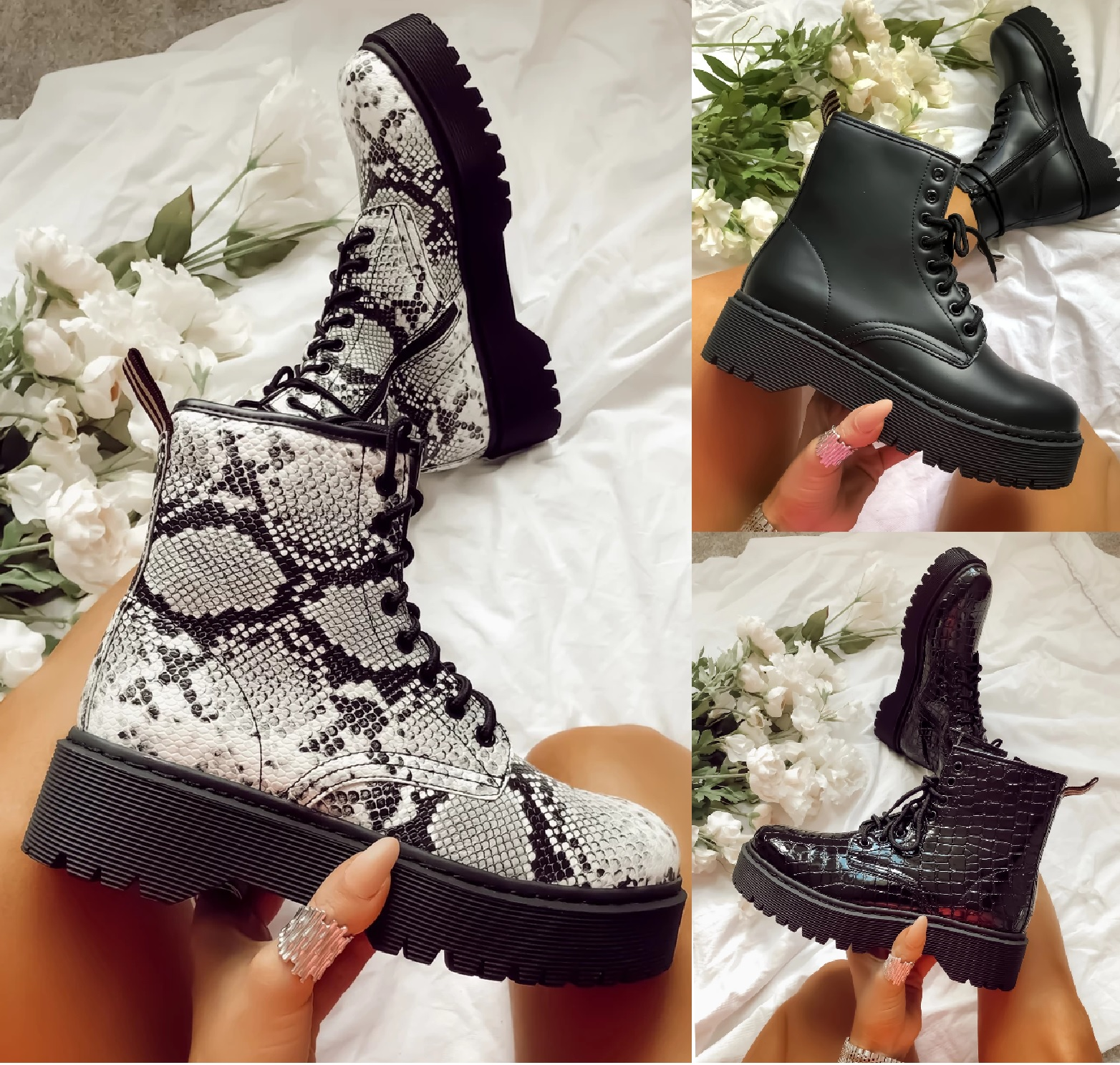Femme Bottines Lacets Plateforme Chunky Punk Goth Zip Icône Rétro Chaussures Bottes