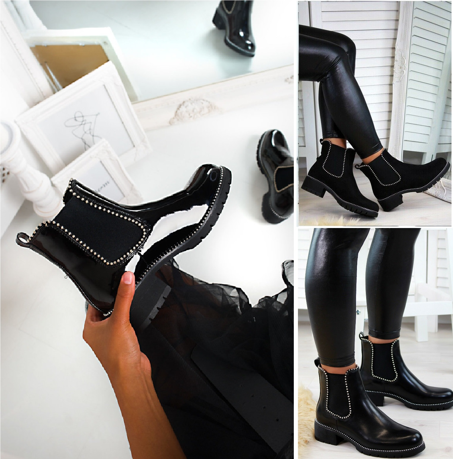 WOMENS LADIES CHELSEA ANKLE BOOTS LOW BLOCK CHUNKY HEEL STUDDED SHOES SIZE 3-8