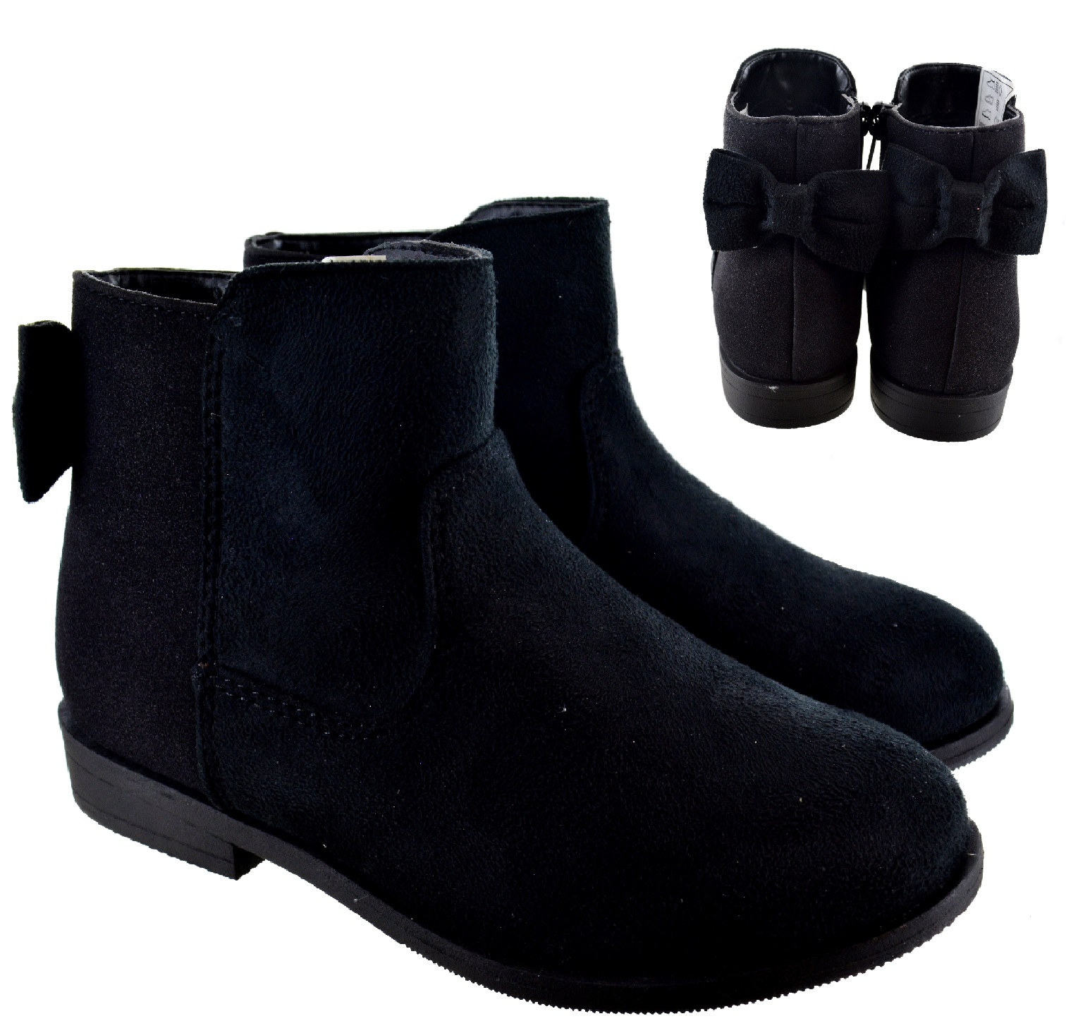 Toddler//Little Kid CYBLING Little Girls Bow Suede Ankle Boot Winter Flat Shoes