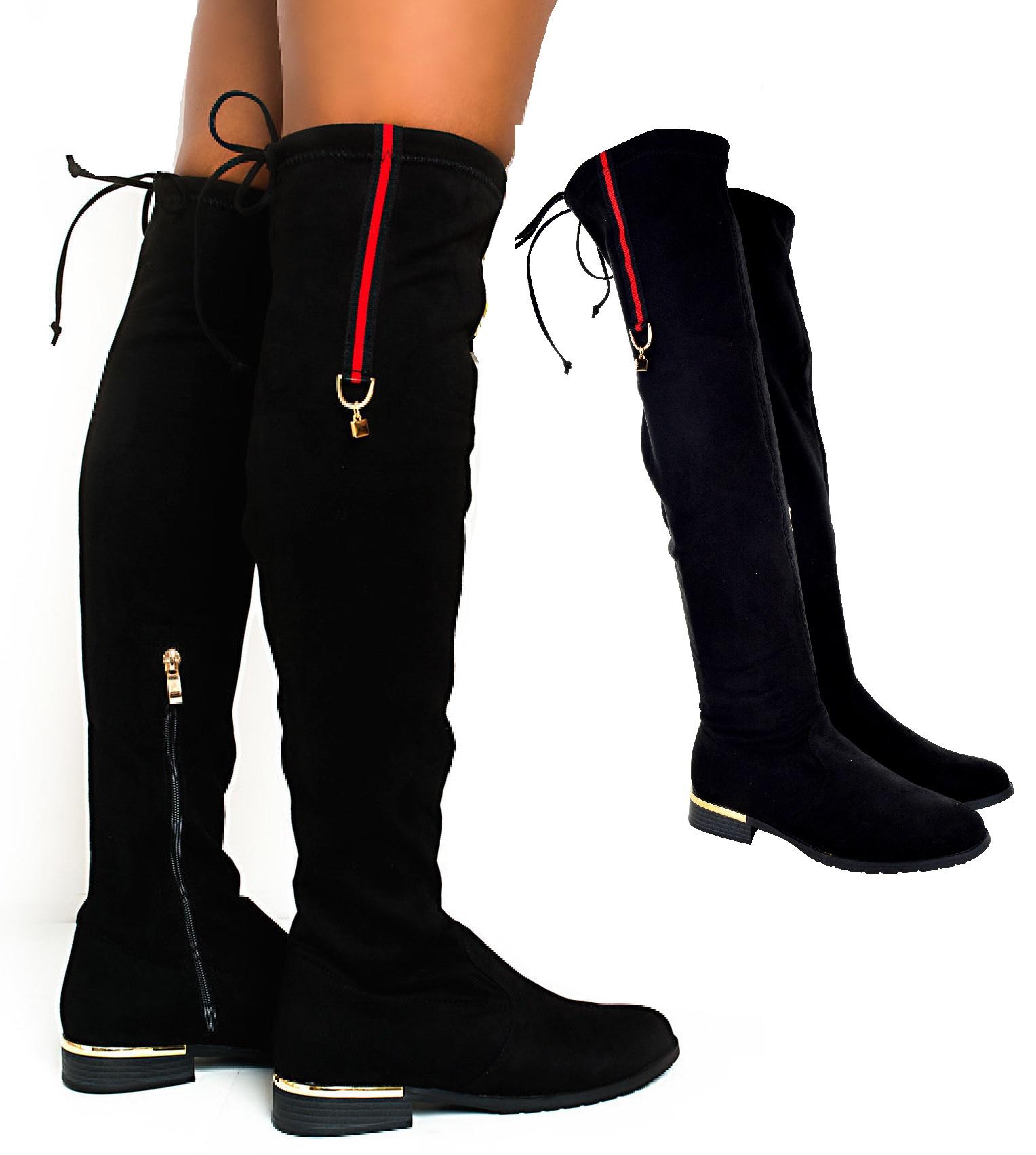 Pour Femme Avec Fermeture Éclair Top Bas Talon Plat Haute cuisse stretch bottes cuissardes taille
