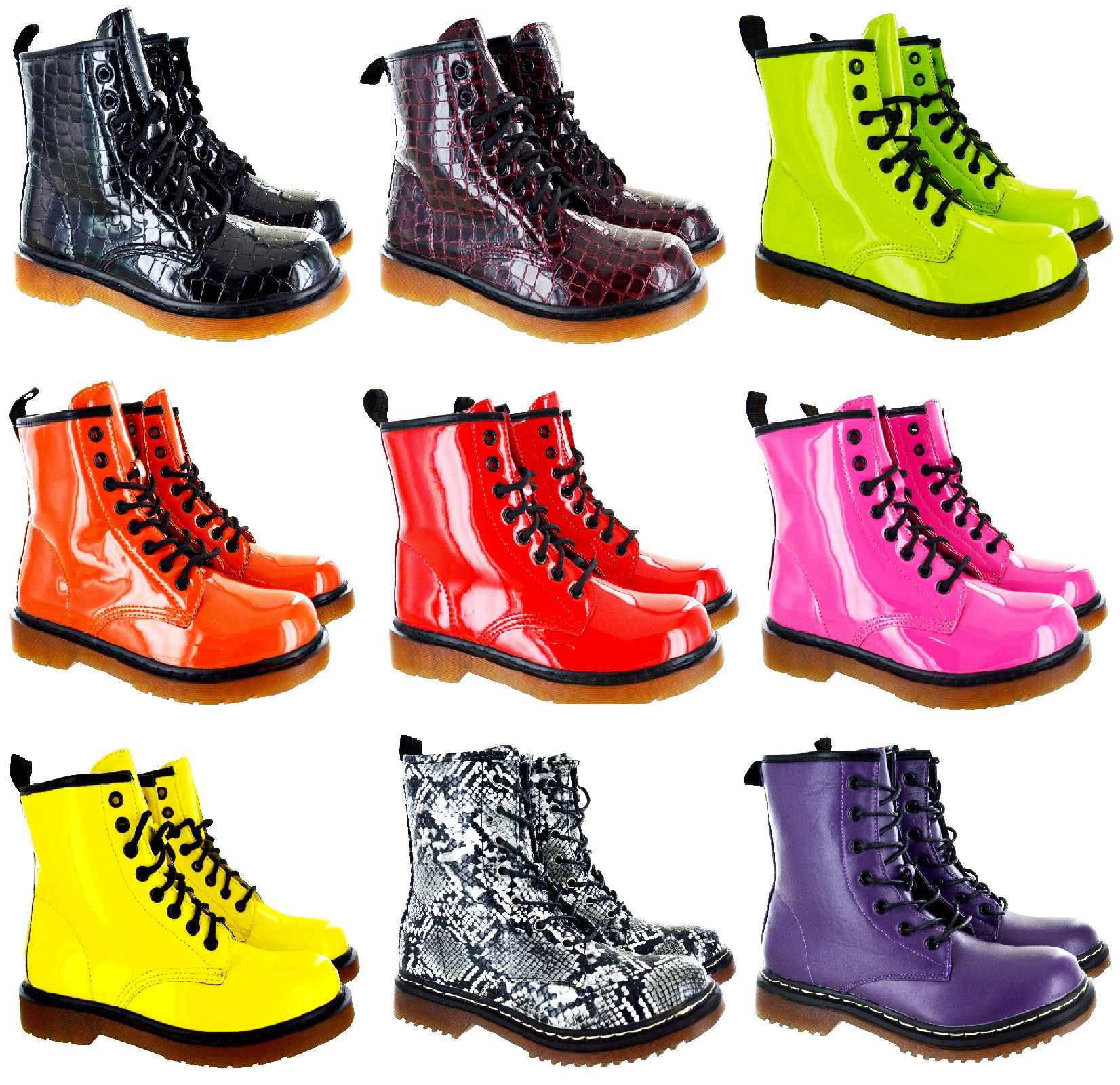 LADIES WOMENS LOW BLOCK HEEL ANKLE COMBAT FLAT CHUNKY LACE UP BOOTS SIZE 3-8