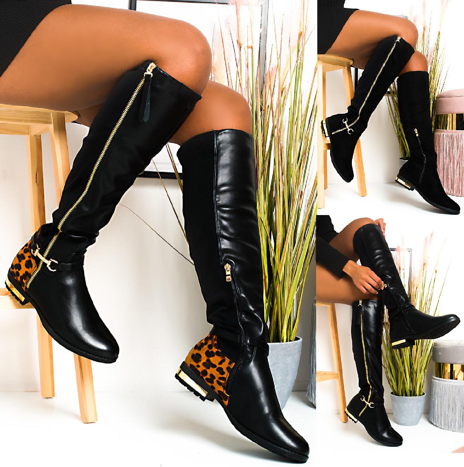 Women/'s Black Double Zip Elasticated Leather PU Over The Knee Flats Boots UK 3-8