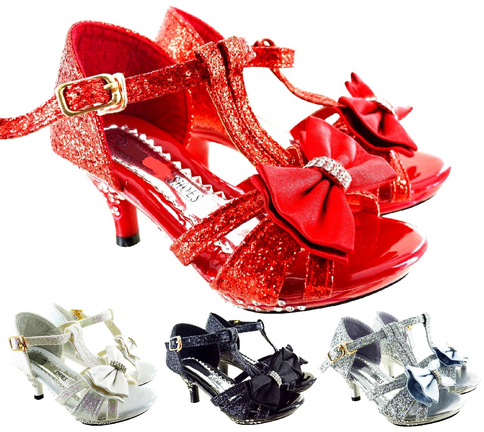 Femmes Rouge Slip-Sur Bout Ouvert Paillettes Mariage Fête Soirée Cour Chaussures Tailles 3-8