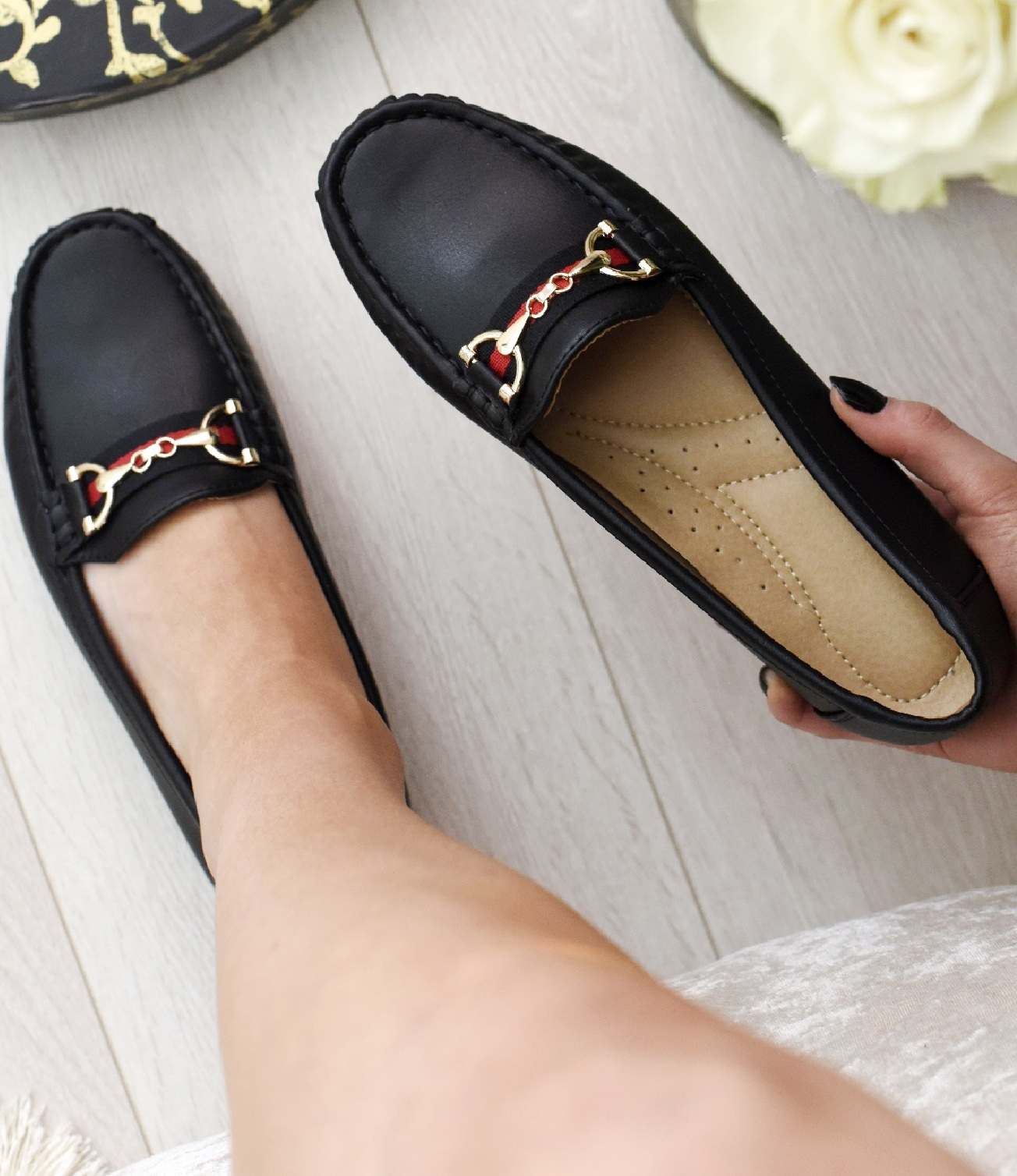 LADIES-WOMENS-FLATS-SLIP-ON-LOAFERS-WORK-OFFICE-BUCKLE-PUMPS-COMFY-SHOES-SZ-3-8 thumbnail 4