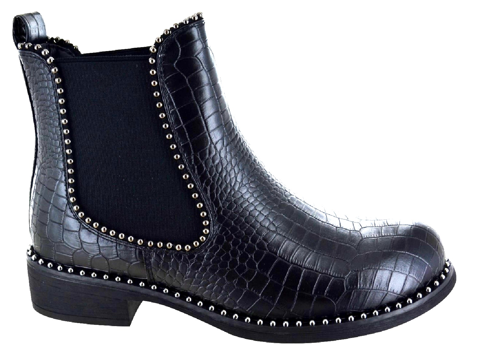WOMENS LADIES CHELSEA DIAMANTE ANKLE BOOTS STUDS ZIP CASUAL FLAT SHOES SIZE 3-8