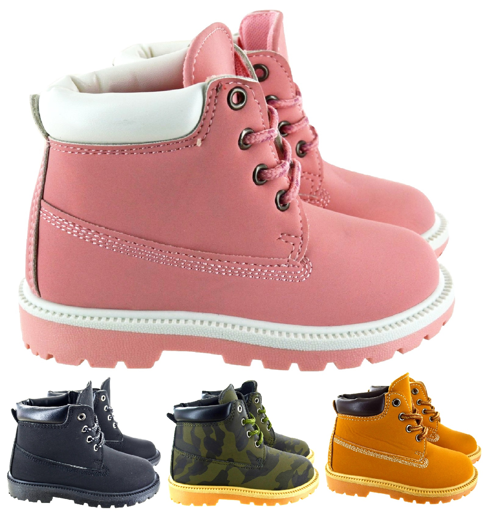 CHILDRENS WINTER COMFY COMBAT ANKLE TRAINERS KIDS BOYS UNISEX WINTER BOOTS SHOES