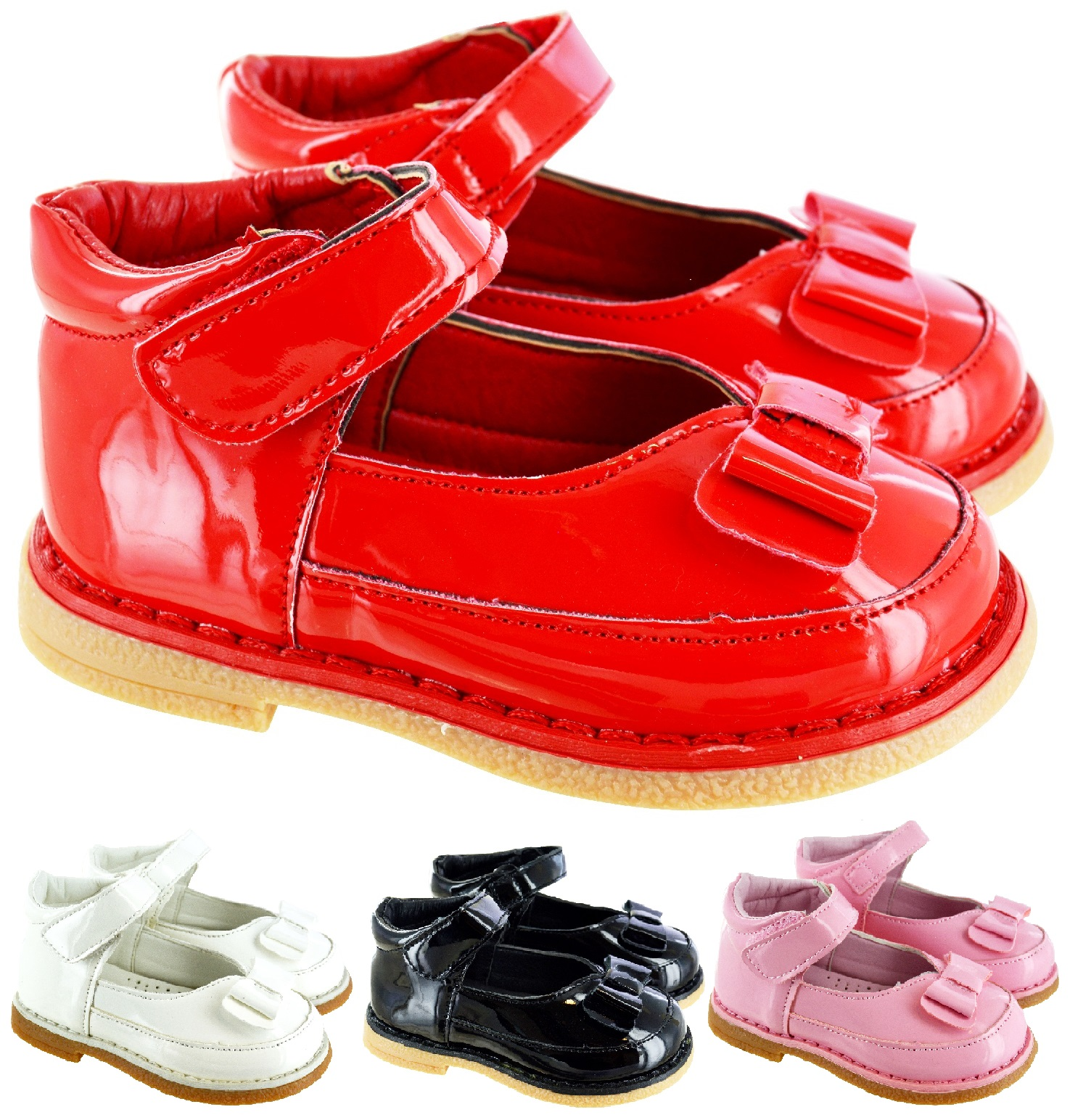 KIDS GIRLS BABY INFANTS FLOWER BOW PATENT SPANISH T BAR WEDDING PARTY SHOES SIZE