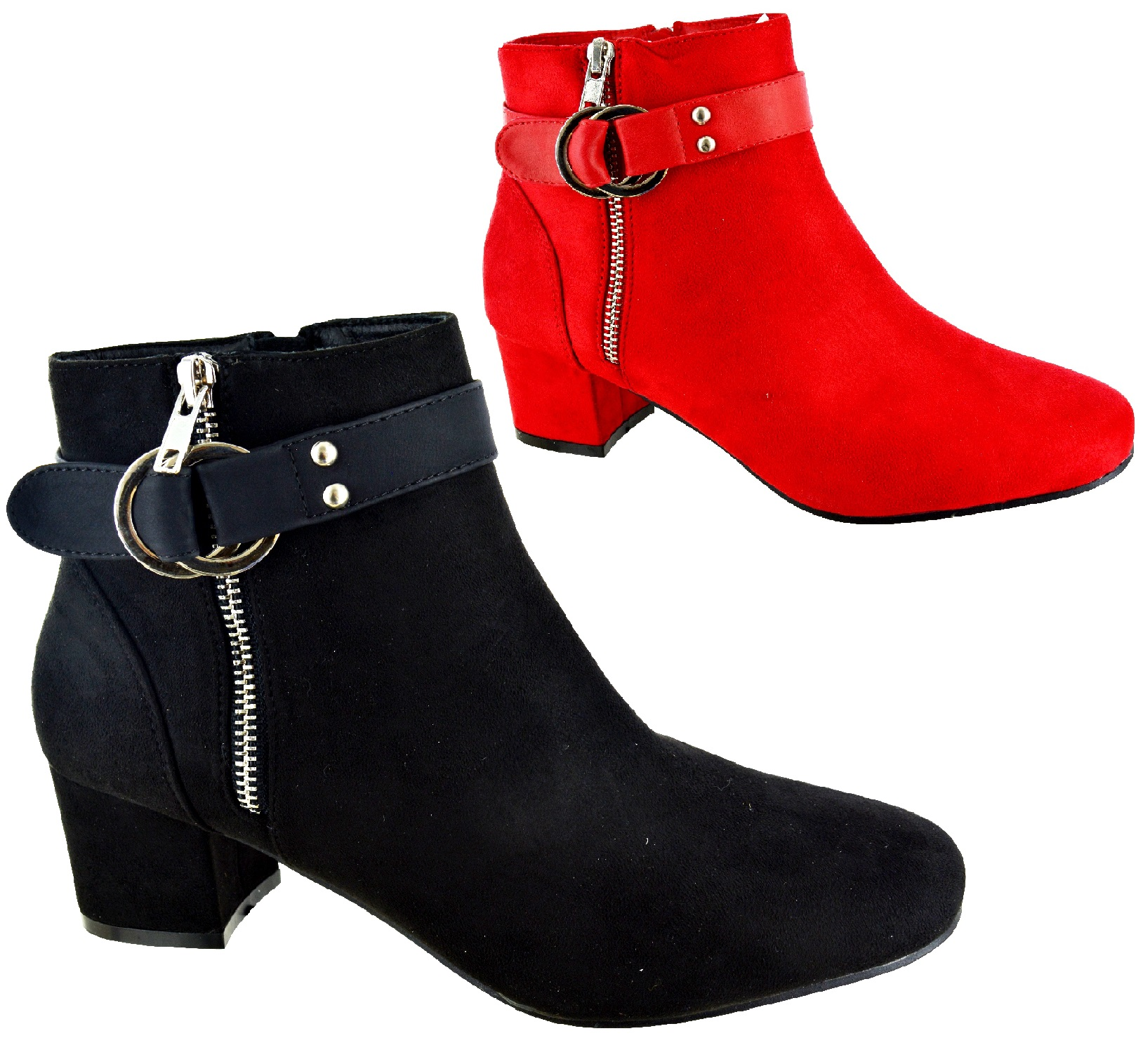 New Womens Ankle Boots High Block Heel Buckle Zip Casual Ladies Shoes Sizes 3-8