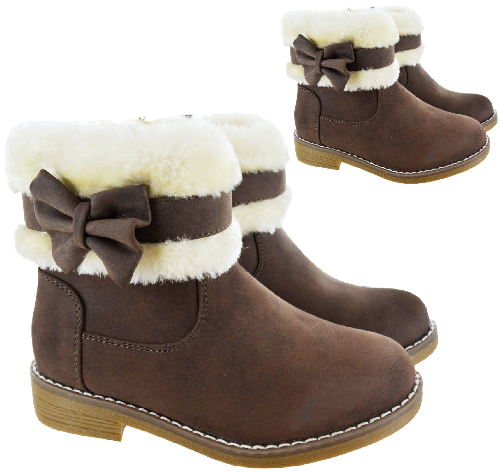 GIRLS COMFY SCHOOL WINTER WARM FAUX FUR LINED ANKLE BOOTS CHILDRENS SHOES SIZE