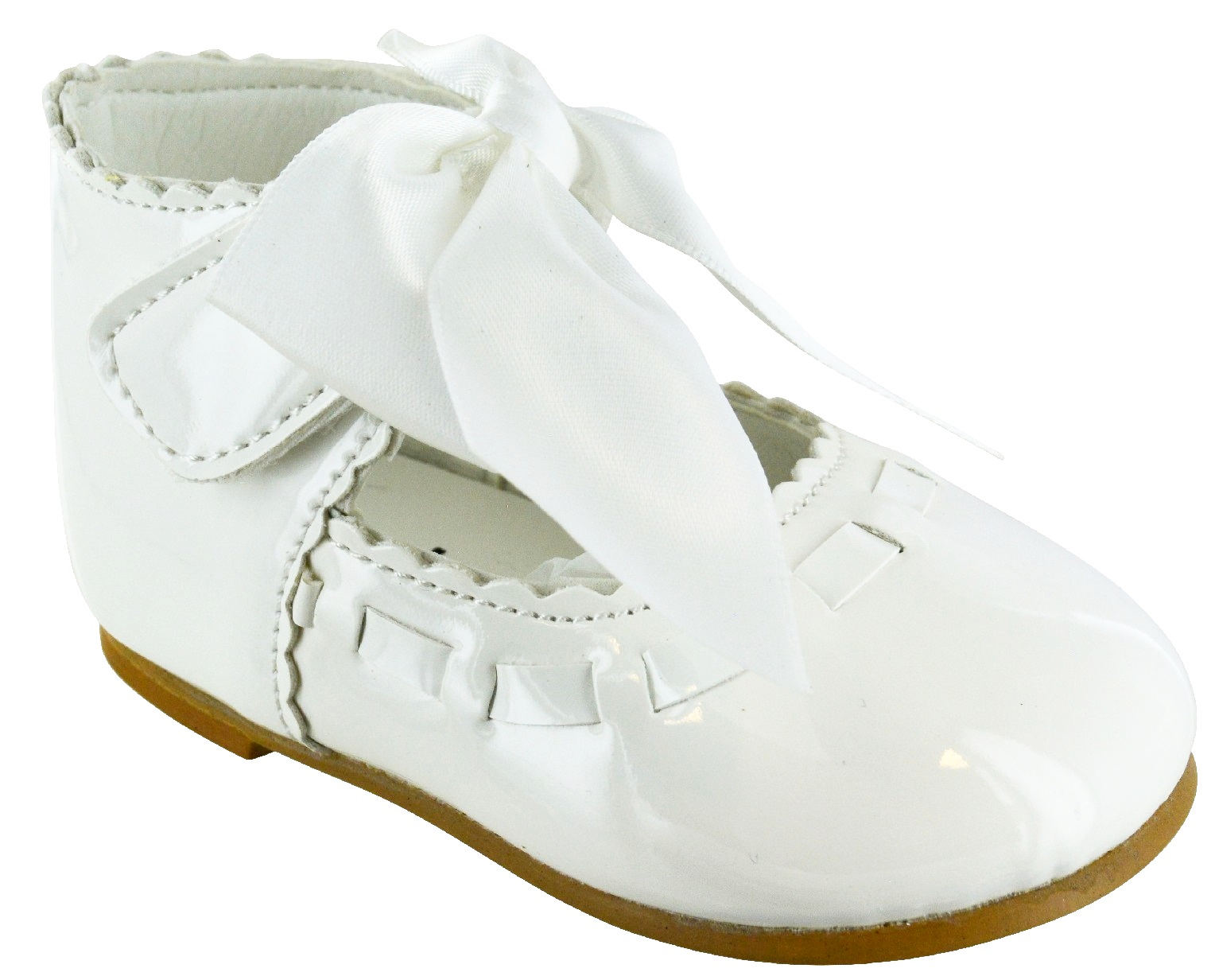 KIDS BABY INFANTS GIRLS SATIN BOW SPANISH WEDDING PARTY PATENT TOODLER SHOES