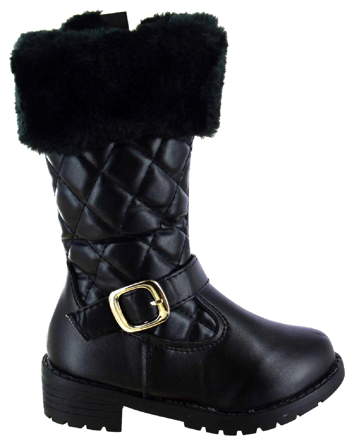 New Girls Kids Infants Faux Fur Lined Quilted Warm Winter Boots Mid Calf UK