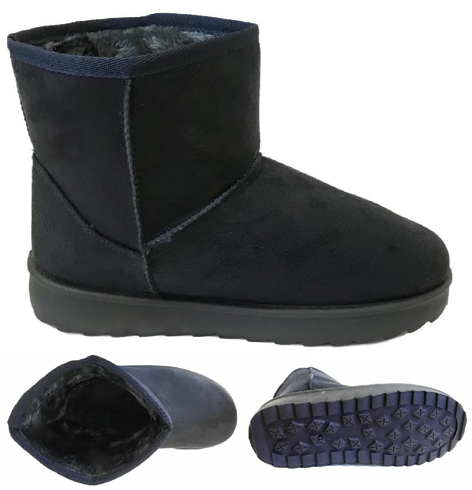 WOMENS LADIES FLAT WARM WINTER FUR LINED ANKLE SNUGG HUGG SHOES BOOTS SIZE 3-8
