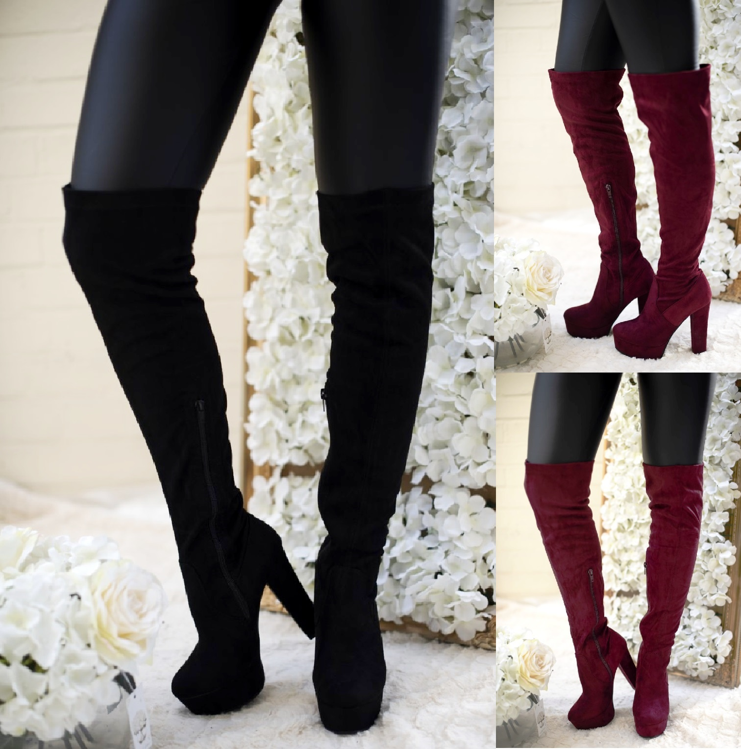 NEW WOMENS PULL ON STRETCH HIGH HEEL BLOCK THIGH HIGH OVER KNEE BOOTS SHOES SIZE