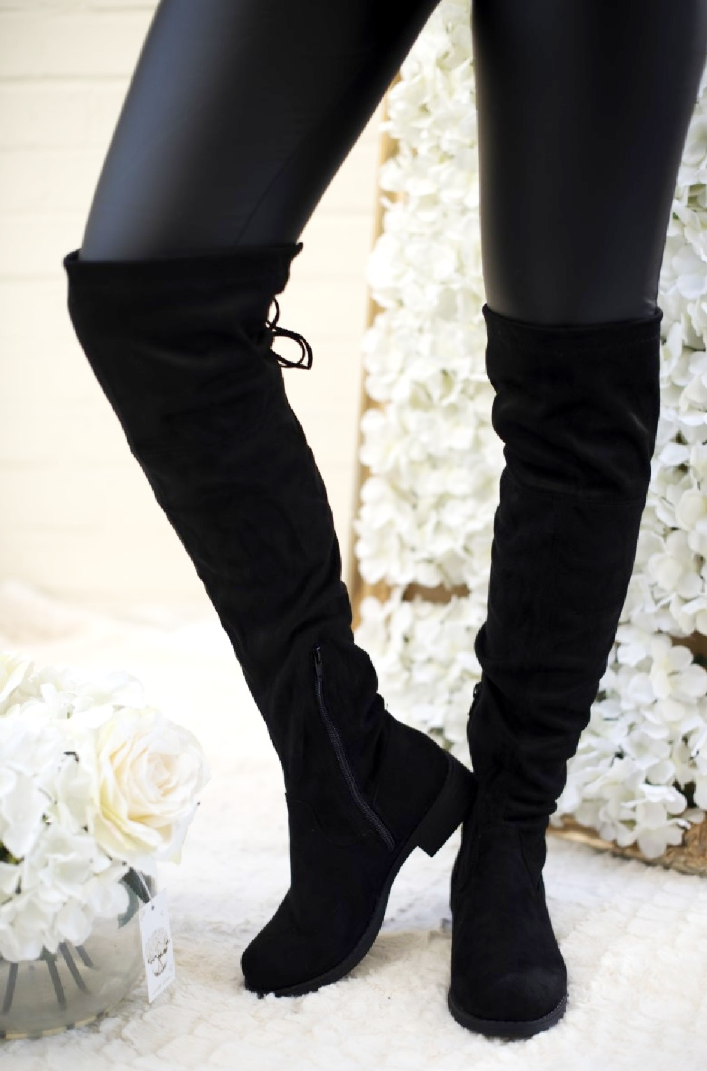 LADIES WOMENS OVER THE KNEE HIGH STUD FUR FLAT LOW HEEL GOLD TRIM BOOTS SIZE 3-8