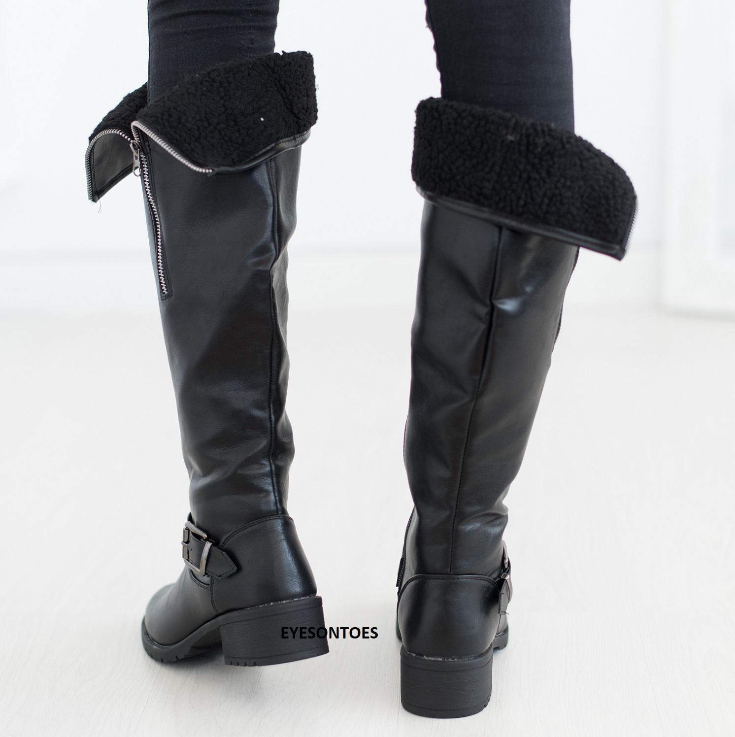 Ladie/'s Black Snug /& Warm Winter Fur Lined Knee High Boots Block Heel Uk 7