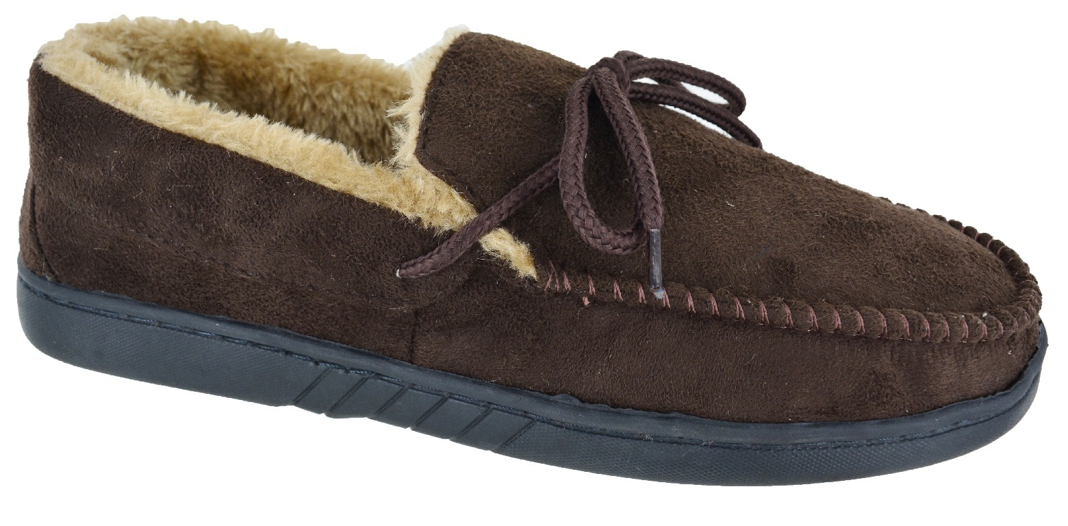 MENS-MOCCASINS-WARM-FAUX-SUEDE-SHEEPSKIN-FUR-LINED-WINTER-LOAFERS-SLIPPERS-SIZE thumbnail 6