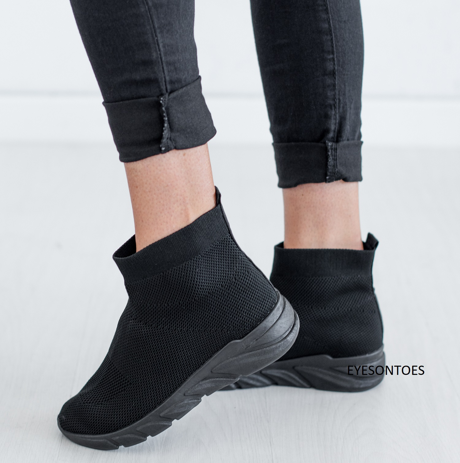 WOMENS FLAT ANKLE SOCKS KNIT CANVAS GYM RUNNINIG TRAINERS SNEAKERS SHOES SIZES