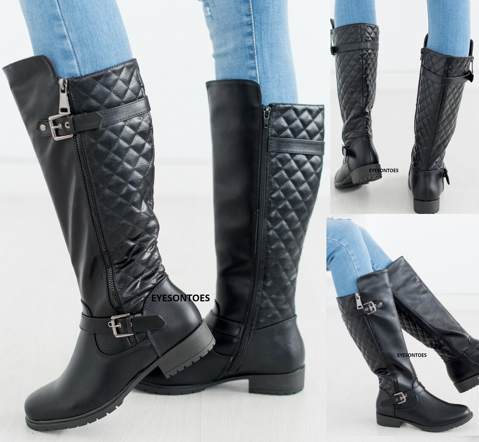 Womens Zip Up Block Heel Knee High Boots Ladies Winter Riding Boots Shoes Size