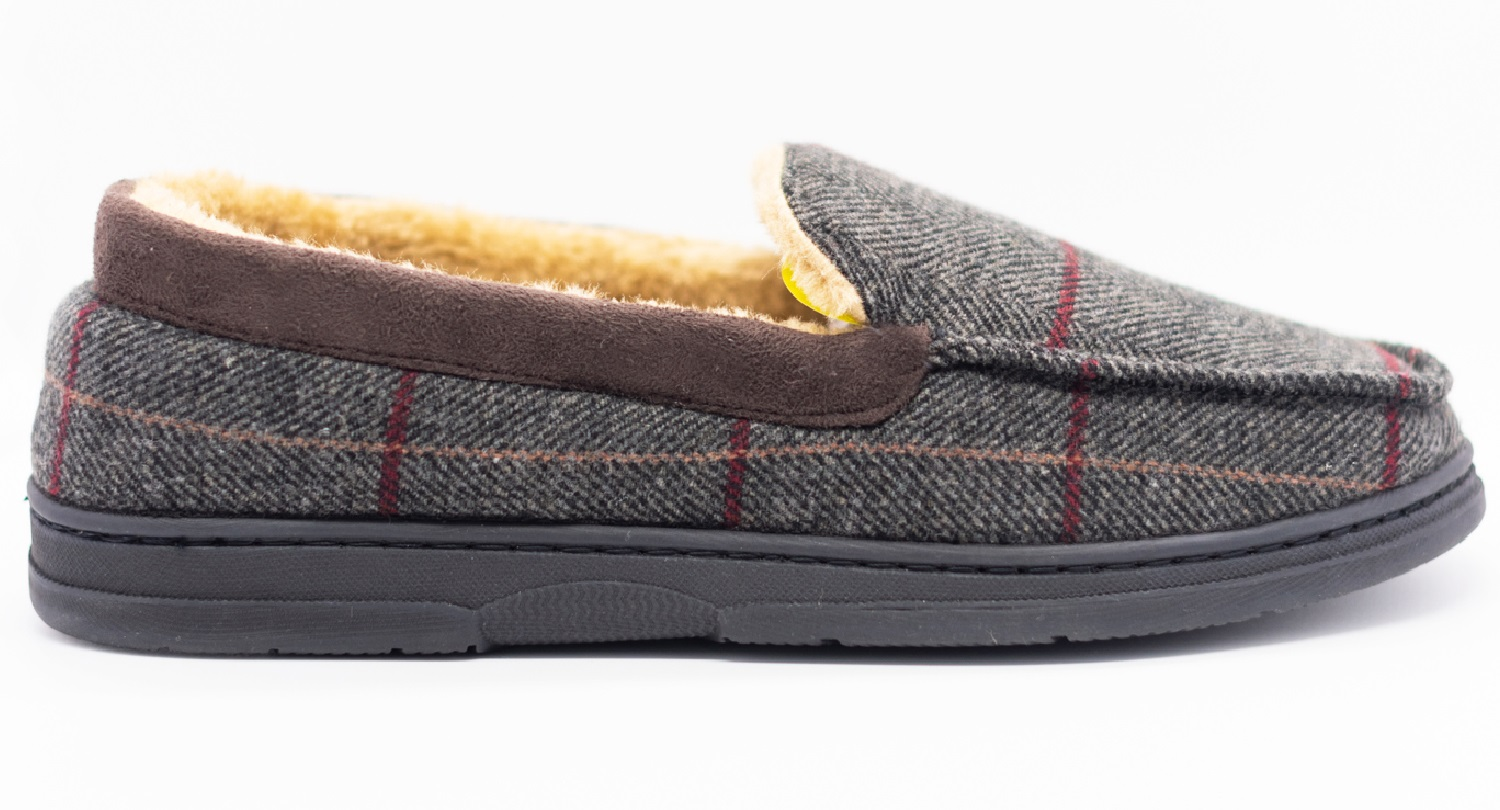thumbnail 3 - MENS CHECK WARM MOCCASINS FAUX SUEDE SHEEPSKIN FUR LINED WINTER SLIPPERS SHOES