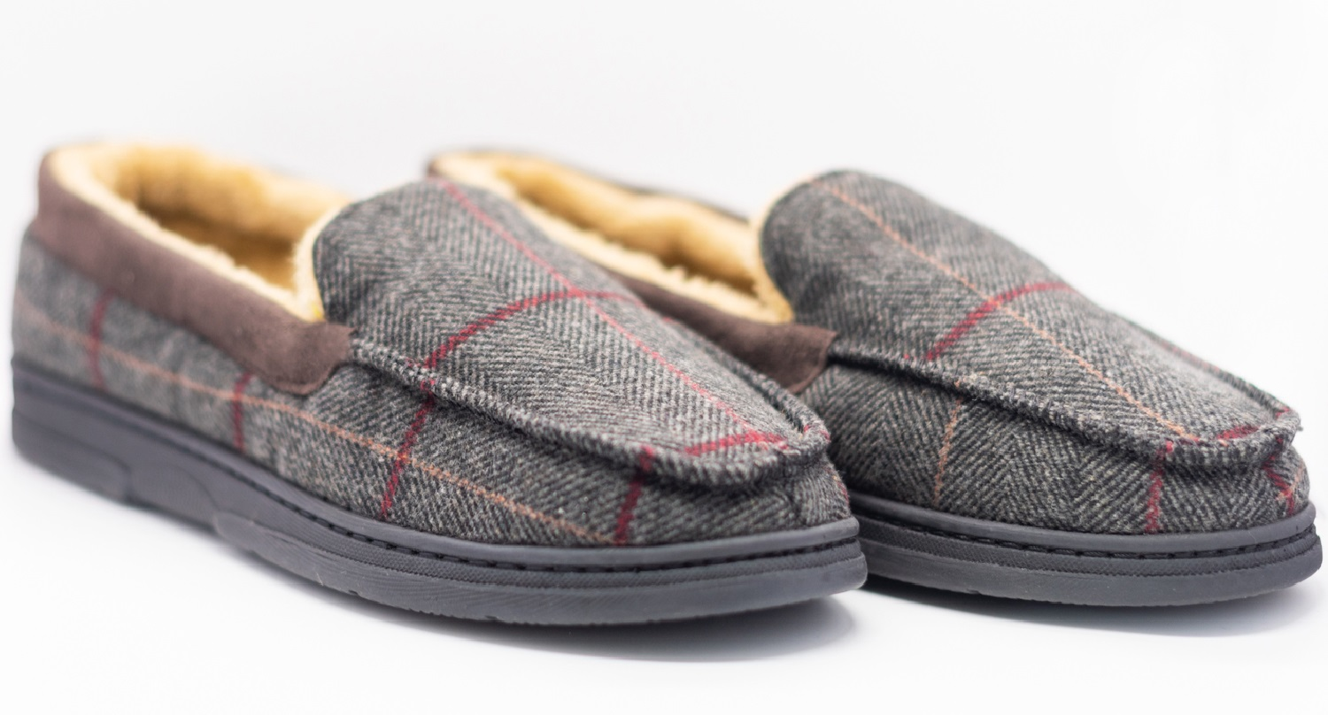 thumbnail 4 - MENS CHECK WARM MOCCASINS FAUX SUEDE SHEEPSKIN FUR LINED WINTER SLIPPERS SHOES