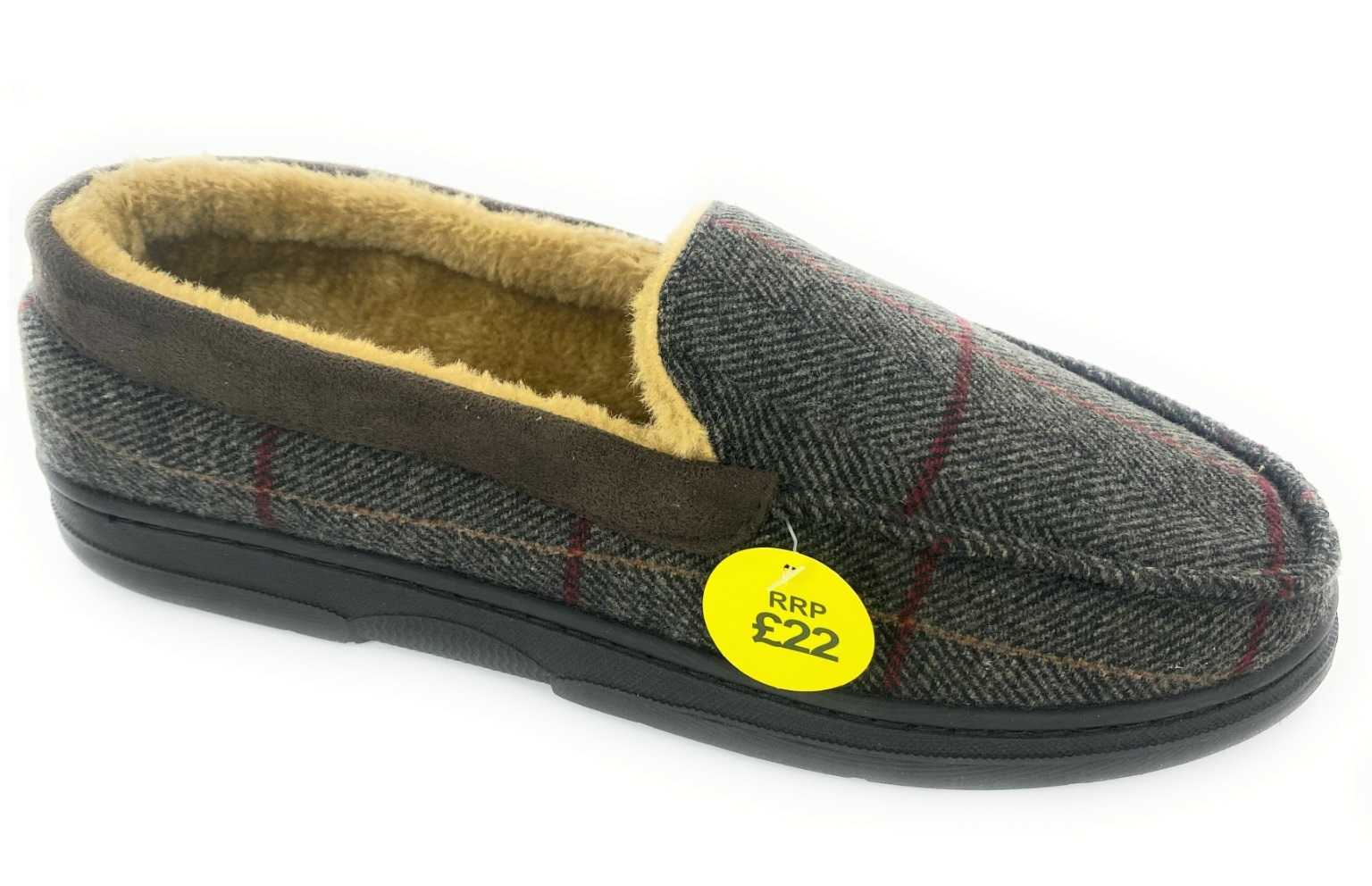 thumbnail 5 - MENS CHECK WARM MOCCASINS FAUX SUEDE SHEEPSKIN FUR LINED WINTER SLIPPERS SHOES