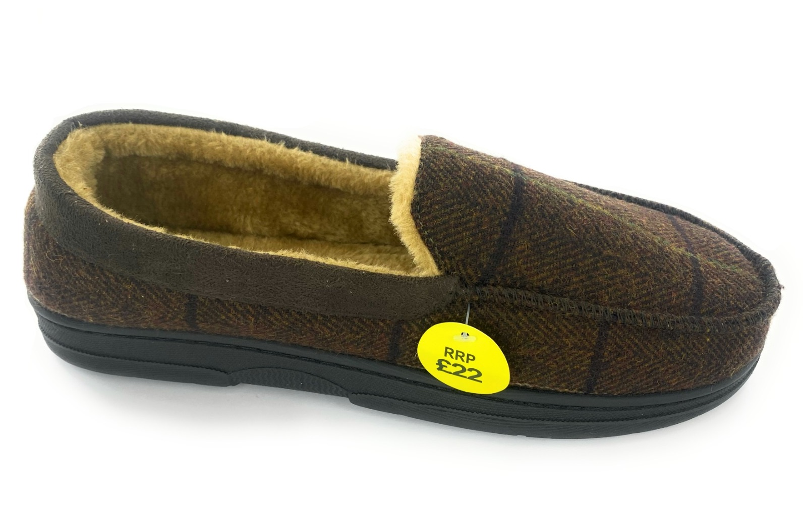 thumbnail 10 - MENS CHECK WARM MOCCASINS FAUX SUEDE SHEEPSKIN FUR LINED WINTER SLIPPERS SHOES