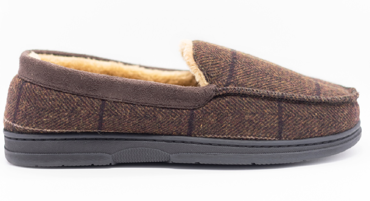 thumbnail 8 - MENS CHECK WARM MOCCASINS FAUX SUEDE SHEEPSKIN FUR LINED WINTER SLIPPERS SHOES