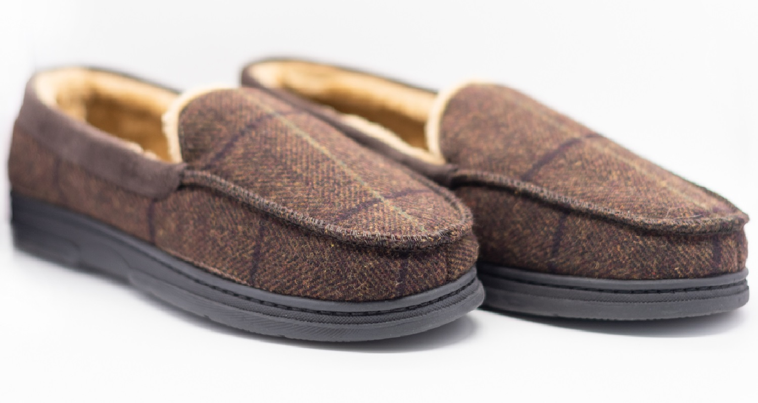 thumbnail 9 - MENS CHECK WARM MOCCASINS FAUX SUEDE SHEEPSKIN FUR LINED WINTER SLIPPERS SHOES