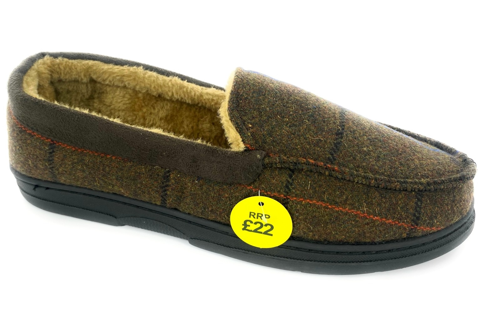 thumbnail 15 - MENS CHECK WARM MOCCASINS FAUX SUEDE SHEEPSKIN FUR LINED WINTER SLIPPERS SHOES