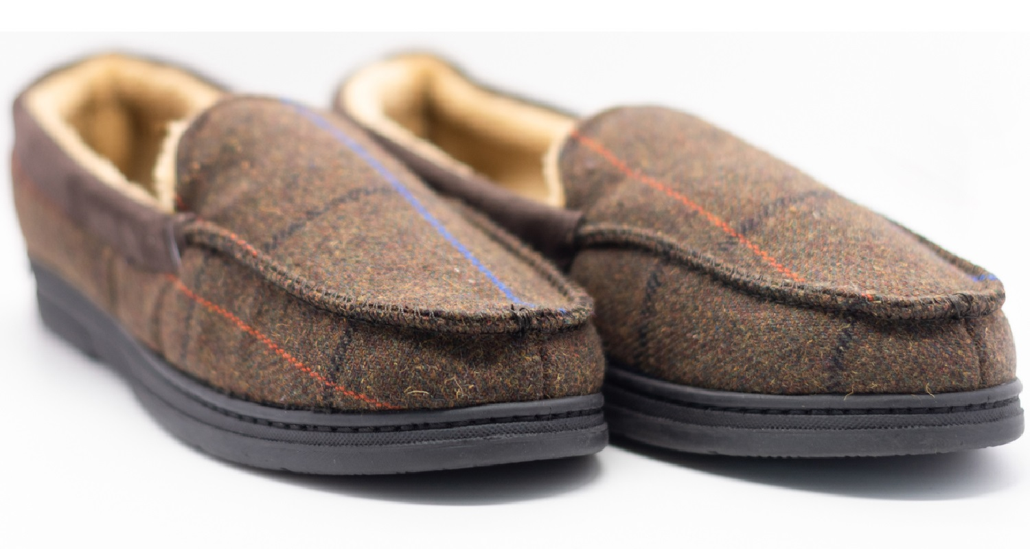 thumbnail 14 - MENS CHECK WARM MOCCASINS FAUX SUEDE SHEEPSKIN FUR LINED WINTER SLIPPERS SHOES