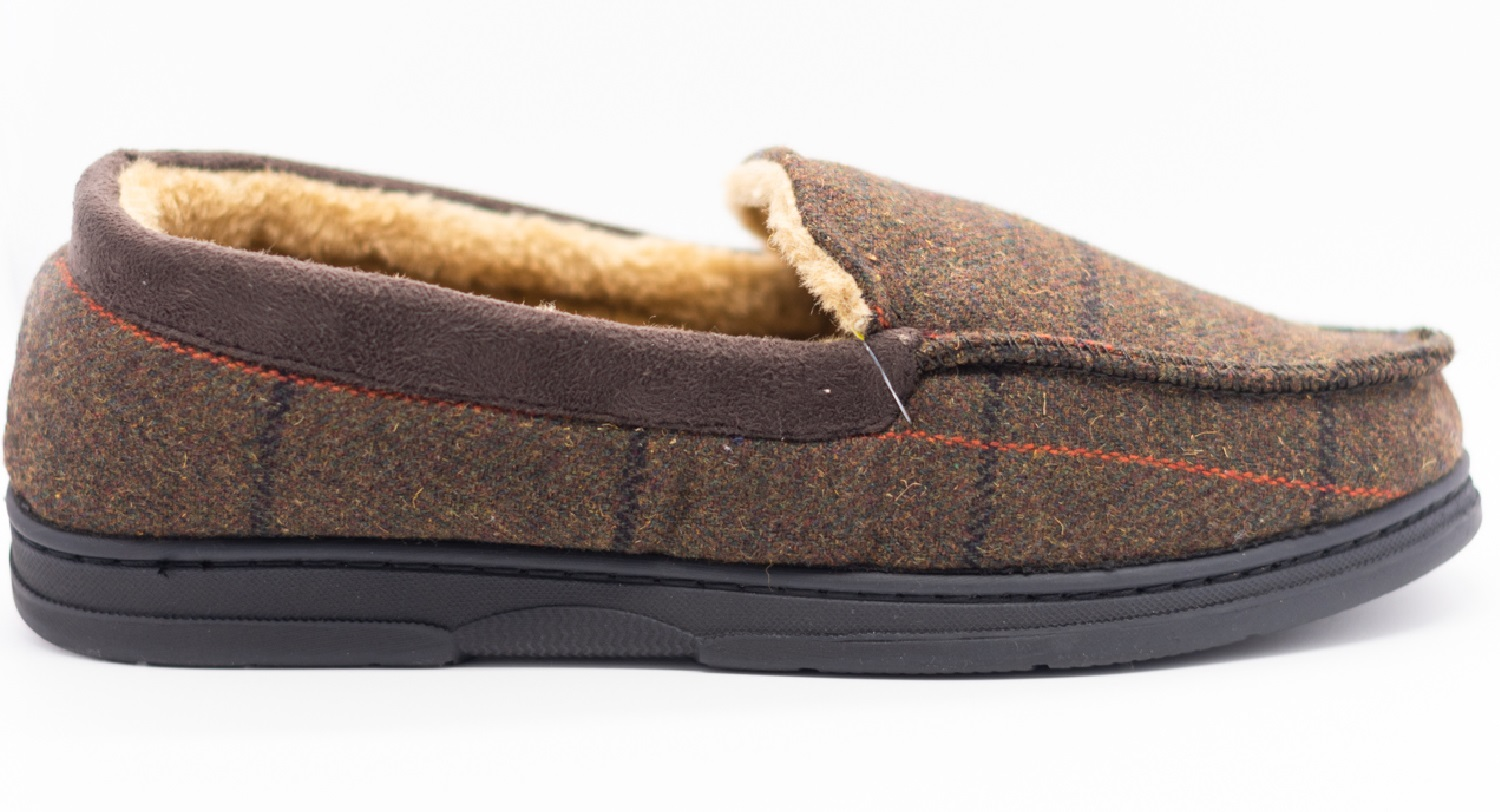 thumbnail 16 - MENS CHECK WARM MOCCASINS FAUX SUEDE SHEEPSKIN FUR LINED WINTER SLIPPERS SHOES