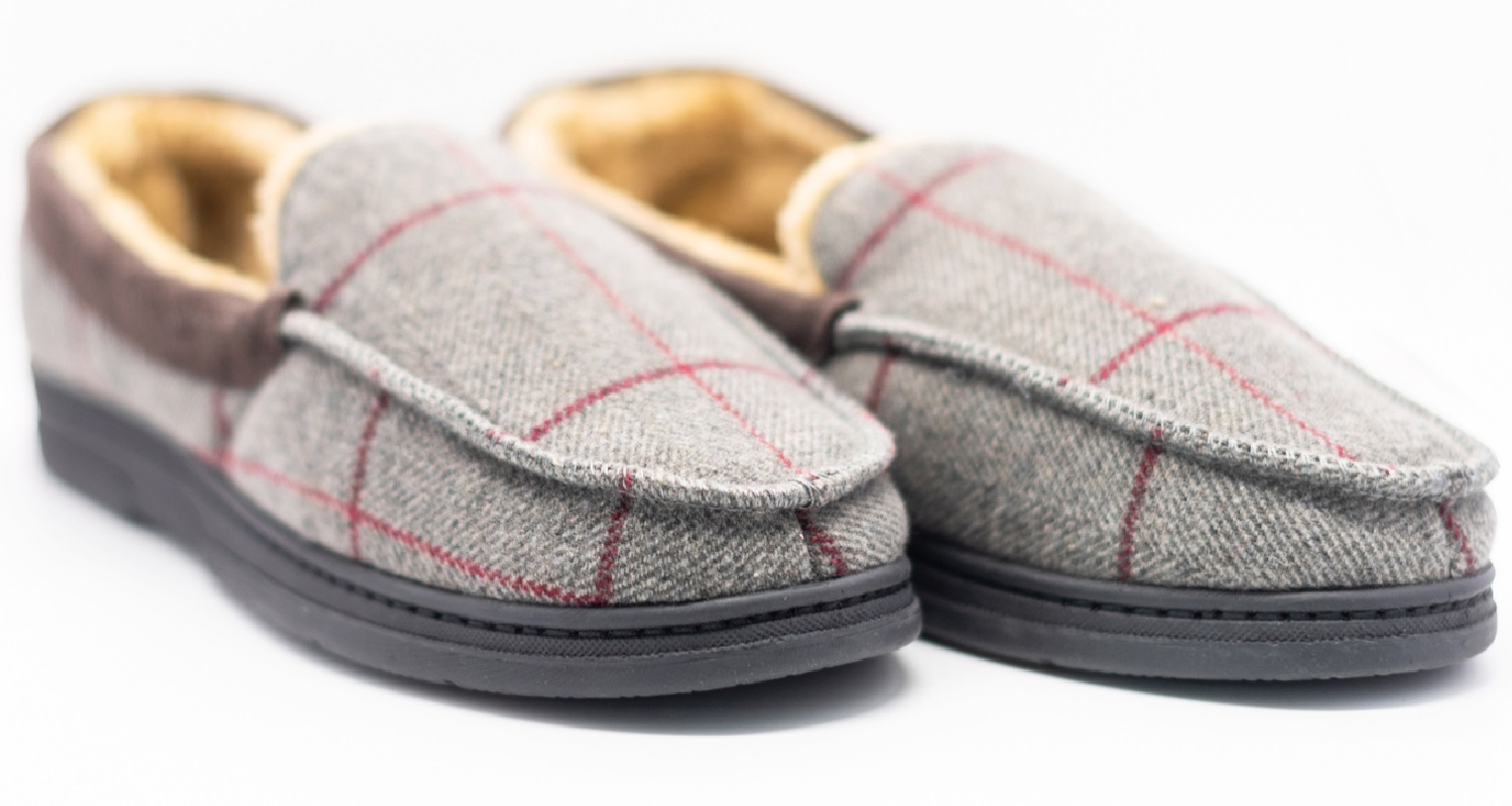 thumbnail 19 - MENS CHECK WARM MOCCASINS FAUX SUEDE SHEEPSKIN FUR LINED WINTER SLIPPERS SHOES