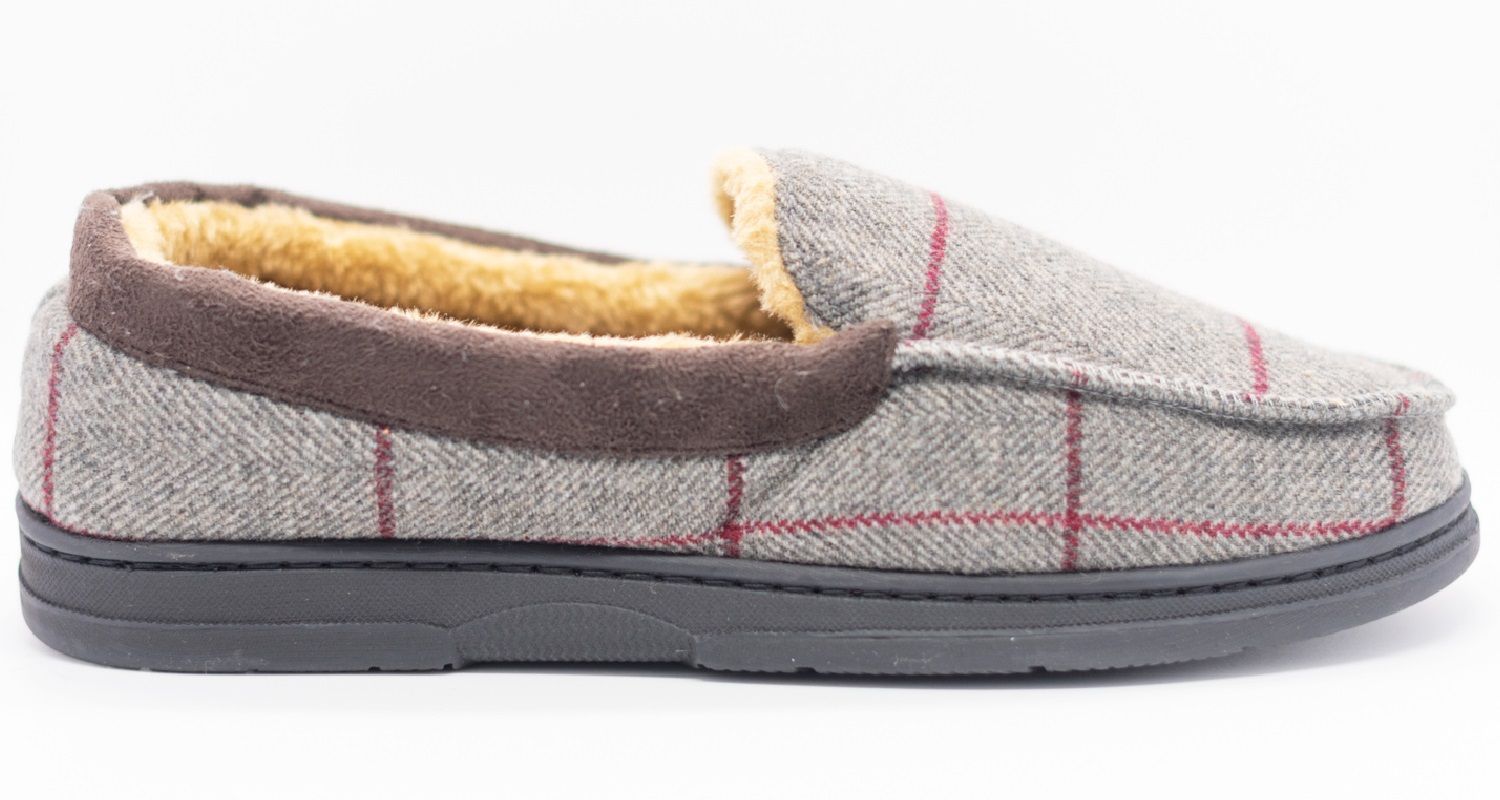 thumbnail 20 - MENS CHECK WARM MOCCASINS FAUX SUEDE SHEEPSKIN FUR LINED WINTER SLIPPERS SHOES