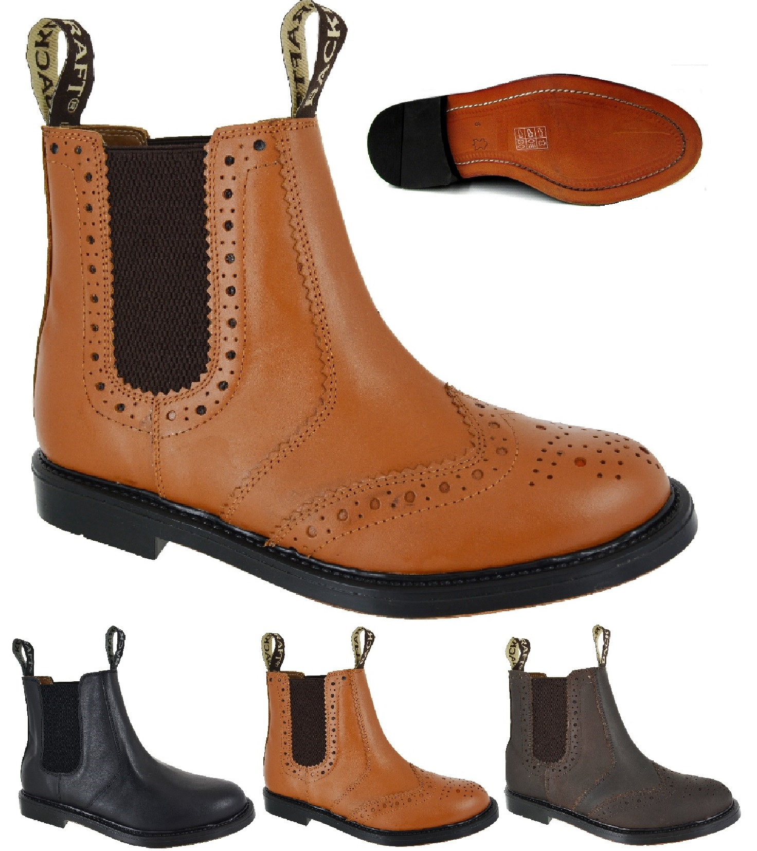NEW GENTS MENS DEALER CHELSEA ANKLE LEATHER SMART WORK BROGUE SLIP ON BOOTS SIZE