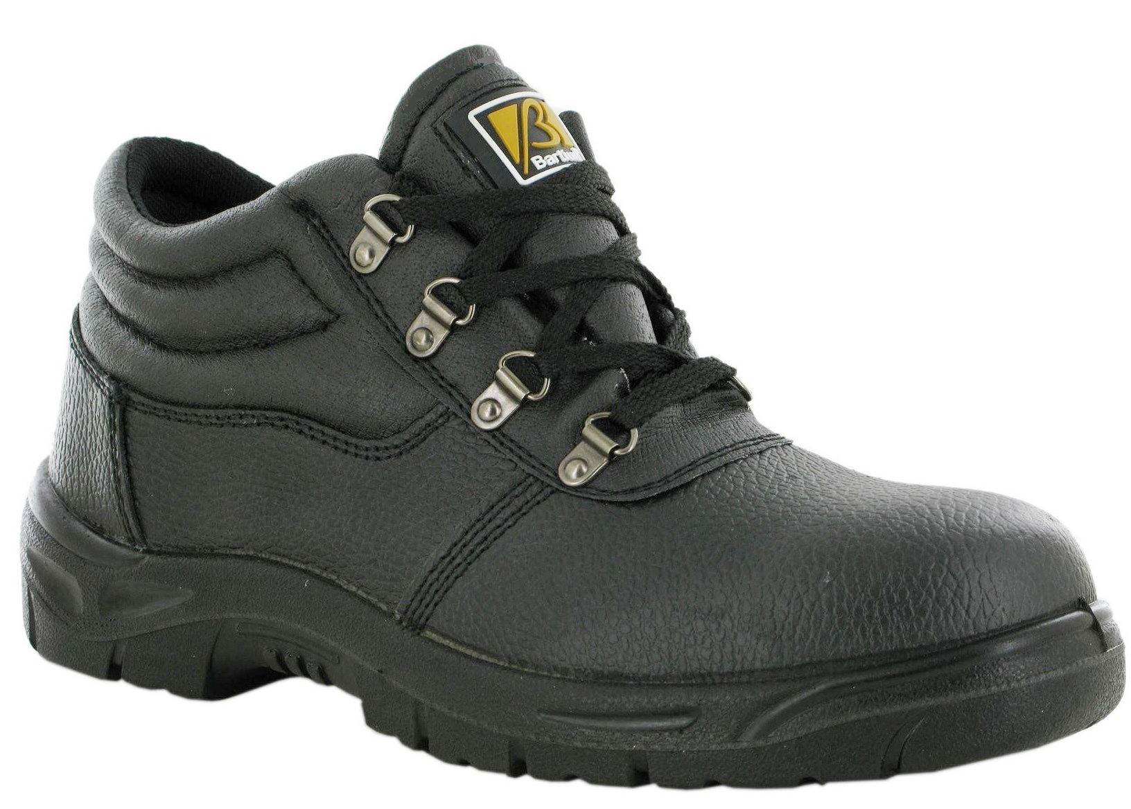 BREATHABLE LEATHER BLACK CHUKKA SAFETY STEEL TOE WORK LACE BOOT TRAINER MIDSOLE