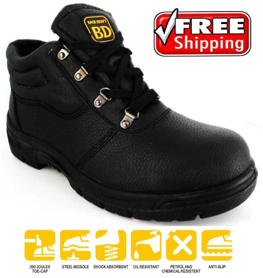 new images of newest great prices Details about MENS CHUKKA BLACK SAFETY BOOTS STEEL TOE CAP TRAINERS LEATHER  MIDSOLE SIZE 4-13